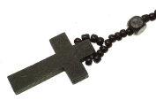 Black wooden bead and black plastic bead rosary beads - ideal Twilight jewellery - MENJW15