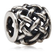 Criss Cross Knot Barrel - Sterling Silver Charm Bead - fits Pandora, Chamilia etc style Bracelets - SpangleBead