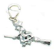 Welded Bliss Sterling 925 Silver Witch on Broomstick Clip On Charm WBC1402