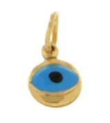 9ct Yellow Gold Enamel Evil Eye Charm Pendant