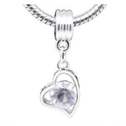 Believe Beads © 1 X Silver Plated Dangle Clear Stone Heart Charm Bead fits Pandora/Troll/Chamilia style Bracelets.