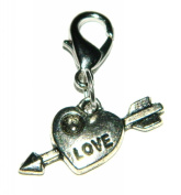 Make It With Beads Silver Love Heart & Arrow Clip On Charm
