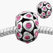 Believe Beads © 1 X Hearts with Pink Stones Charm Bead fits Pandora/Troll/Chamilia style Bracelets. Perfect for a Valentines day Gift!