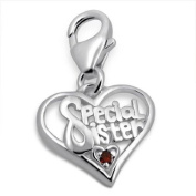TheCharmWorks Sterling Silver and Crystal Special Sister Heart Clip on Charm