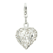 Silver Ladies' Filigree Heart clip on charm ()