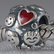Family Ties Red Enamel Heart - Sterling Silver Charm Bead - fits Pandora, Chamilia etc style Bracelets - SpangleBead - One Only Supplied