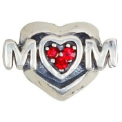 """Mum"" Red Crystal Heart - Sterling Silver Charm Bead - fits Pandora, Chamilia etc style Bracelets - SpangleBead"