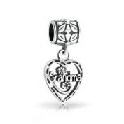 Bling Jewellery Grandma Vintage Style Heart 925 Sterling Silver Dangle Bead .