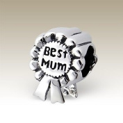 Best Mum Award - Sterling Silver Charm Bead - fits Pandora, Chamilia etc style Bracelets - SpangleBead