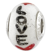 Sterling Silver Reflections Love With Hearts Italian Glass Bead Charm - JewelryWeb