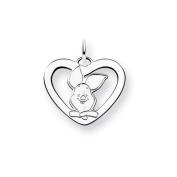 Sterling Silver Disney Piglet Heart Charm - JewelryWeb