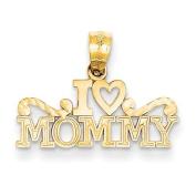 14ct Yellow Gold I Heart Mommy Pendant - JewelryWeb