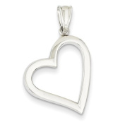 14ct White Gold Polished Hollow Heart Pendant - JewelryWeb