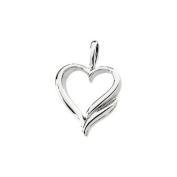 14ct White Gold Heart Shaped Pendant - JewelryWeb