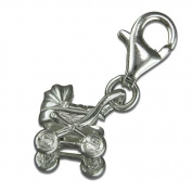 Carry Cot Pram Silver Clip On Charm