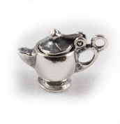 3D 925 Sterling Silver Charm - Teapot With Opening Lid - FREE UK POSTAGE