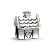 Bling Jewellery 925 Sterling Silver House Charm Bead Fits Pandora Chamilia Troll