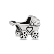 Bling Jewellery Baby Carriage Sterling Silver Charm Bead Fits Troll Pandora