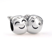Bling Jewellery 925 Silver Boy and Girl with Pigtails Face Bead Charm Fits Pandora
