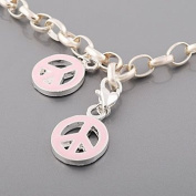 Believe Beads x1 Pink Peace Enamel Silver Plated Clip on Charm Bead fits Thomas Sabo Style Charm Bracelets