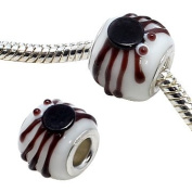 Murano painted glass Spider charm bead - Brown - fits pandora & troll bracelets - hand polished and hand finished to fine jewellery standard