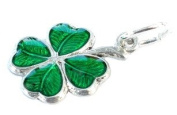 CLASSIC DESIGNS Sterling Silver 925 Enamelled Lucky Clover Charm N144