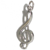 Treble Clef sterling silver charm pendant .925 SSLP1429