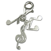 Sterling Silver Music Notes Clip on Bracelet Charm