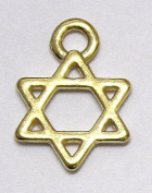 Vintage Star Of David Gold Pendant X 1 Charm Amulet