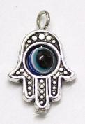 Vintage Hamsa Evil Eye Silver Pendant X 1 Hand Of Fatima Charm Amulet