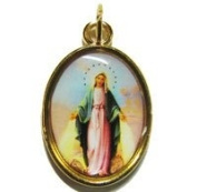 Catholic rosary medal - Miraculous Mary image - gold metal 20mm