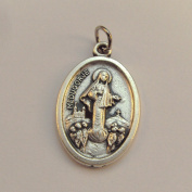 Our lady of Medjugorje Catholic medal pendant - silver colour metal 2cm
