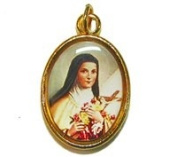 Catholic rosary medal - St. Therese image - gold colour metal 20mm
