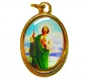 Catholic Rosary medal - St. Jude image - gold colour metal 20mm