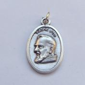 Padre Pio Catholic medal pendant - silver colour metal 2cm