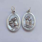 St. Anthony and St. Francis image medal pendant - silver colour metal 2cm