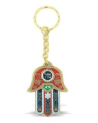 Red Hamsa Luck Keyring With Evil Eye Protection Charm And Travellers Prayer Engraved On The Back In Hebrew