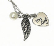 Shiny Silver Colour Heart Pendant Necklace With The Words ' MY ANGEL ' With Angels Wing & Faux Pearl Charms - Gift Boxed