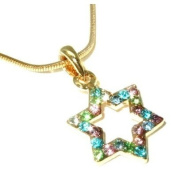 Star Of David Magen Judaica Necklace Pendant Kabbalah Jewellery Gold Stones Israel