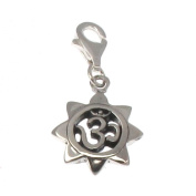 Sterling Silver Clip On Charm - Om in Lotus Mandala