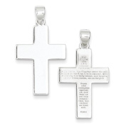 Sterling Silver Polished The Lords Prayer Cross Pendant - JewelryWeb