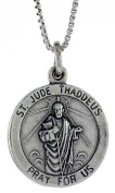 Sterling Silver Saint Jude Pendant, 21 mm tall, includes a 46cm Sterling Silver Box chain