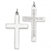 Sterling Silver Cross With Lords Prayer Pendant - JewelryWeb