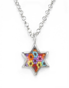 Jewish Star of David Necklace - Silver Religious Charm - Flower Millefiori Pendant Made of Polymer Clay - Hanukkah Gift Ideas for Her