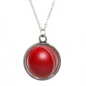 Silver Plated Chain Necklace with Cricket Ball design Pendant