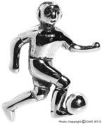 1.1g Solid .925 Sterling Silver 3D Oxidised Football Charm/Pendant - FREE GIFT BOX