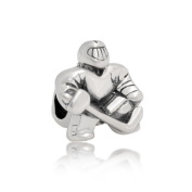 Bling Jewellery 925 Silver Ice Hockey Player Goalie Bead Sports Charm Fits Pandora