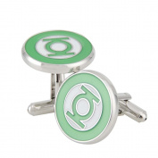 Rhodium Plated Green Lantern Cufflinks