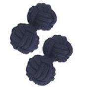 Navy Blue Silk Knot Cufflinks