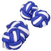 Royal Blue & White Silk Knot Cufflinks | Cuffs & Co